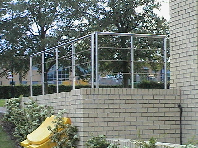 stainless steel handrail outdoors