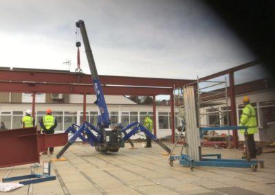 Spider Crane Installing New Class Room Steelwork